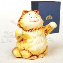 Фарфоровая статуэтка Pavone JP желтый кот 9 см