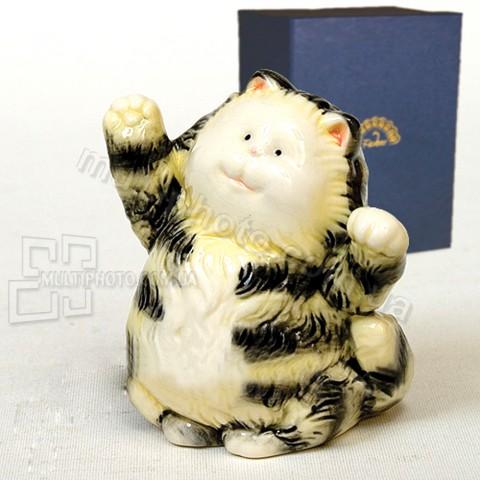 Фарфоровая статуэтка Pavone JP полосатый кот 9 см
