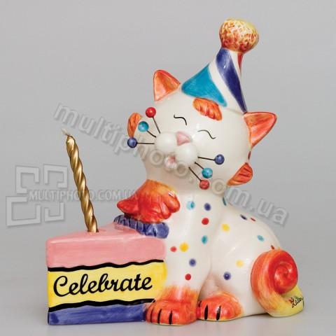 Фарфоровая статуэтка Pavone CMS кот Именинник 15 см