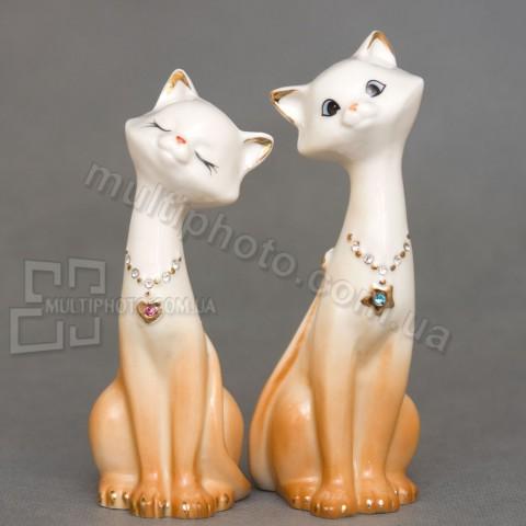 Набор фарфоровых статуэток XA-406 кот и кошка 16 см