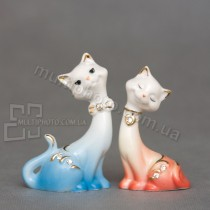Набор фарфоровых статуэток XA-410 кот и кошка 8 см