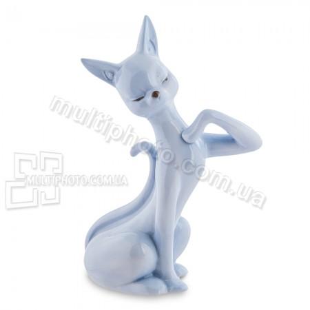 Фарфоровая статуэтка Pavone JP кошка голубая 13 см