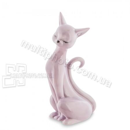 Фарфоровая статуэтка Pavone JP кошка розовая 12 см