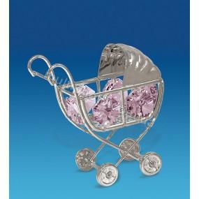 Фигурка AR-1162- 1 Детская коляска серебристая для девочки