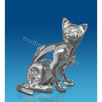 Фигурка серебристая AR-3746- 7 Кошка с кристаллами