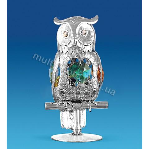 Фигурка AR-1202 серебристая Сова с кристаллами