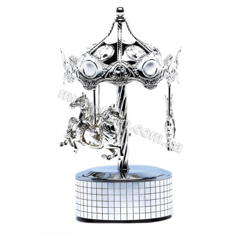 Музыкальная фигурка AR-1311 Карусель с прозрачными кристаллами