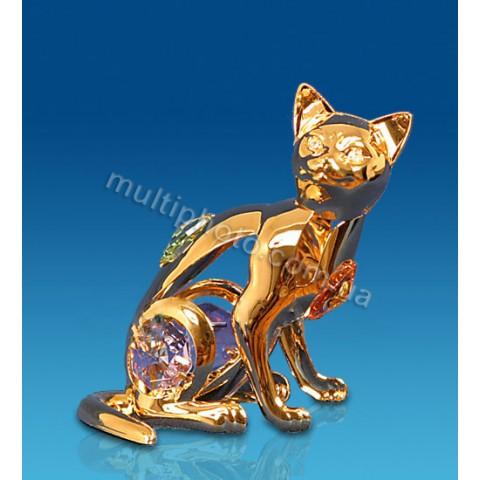 Фигурка Юнион AR-3746- 1 Кошка с цветными кристаллами