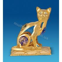 Фигурка AR-3746- 3 Кошка на подушке с кристаллами