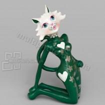 Статуэтка SK-29 кошка ГлаМур в зеленом 18 см