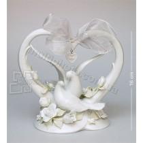 Фарфоровая статуэтка Pavone CMS сердце с голубями 16 см