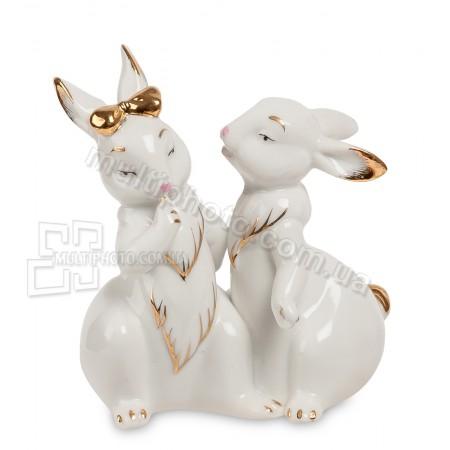 Фарфоровая статуэтка Pavone JP пара кроликов 11 см