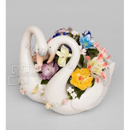 Фарфоровая статуэтка Pavone CMS лебеди вместе навсегда 18 см