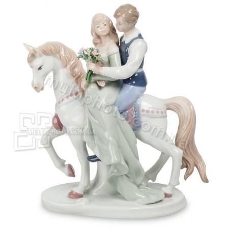 Фарфоровая статуэтка Pavone JP конная прогулка 22 см
