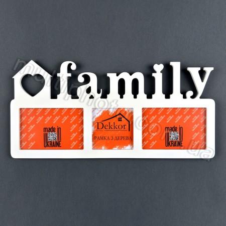Рамка деревянная с надписью Family на 3 фото