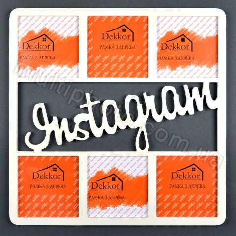 Деревянная мультирамка Instagram на 6 фото