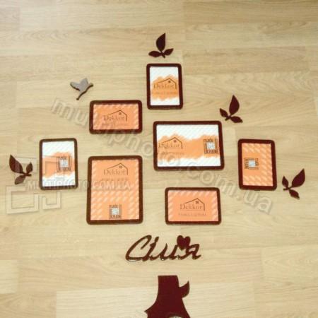 Деревянные рамки для 7 фото Семейное дерево
