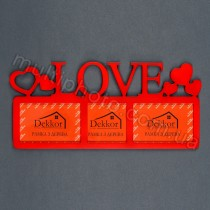 Фоторамка красная с надписью Love на 3 фотографии