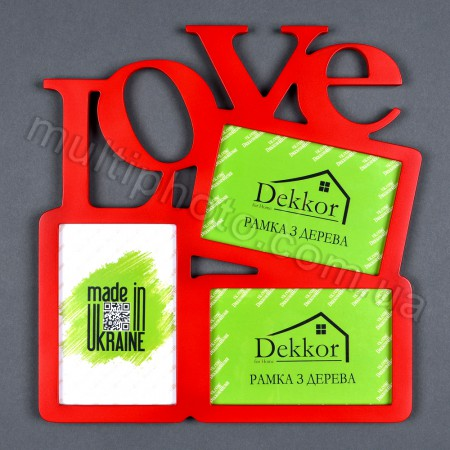 Деревянная фоторамка на 3 фото Love красная