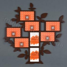 Деревянная фоторамка венге Семейное дерево для 8 фото