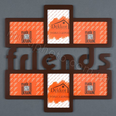 Рамка для фото с надписью Friends на 6 фото цвет венге