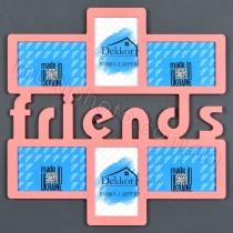 Фоторамка с надписью Friends розовая на 6 фото