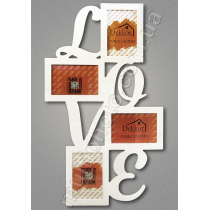 Фоторамка коллаж с надписью Love на 4 фото в белом цвете