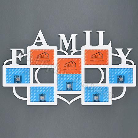 Деревянная фоторамка с надписью Family на 7 фото 90x44 см