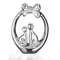 Статуэтка из керамики Пара котов Eterna К8179 серебряная