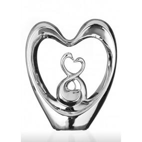 Статуэтка из керамики Пара лебедей Eterna К7922 серебряная