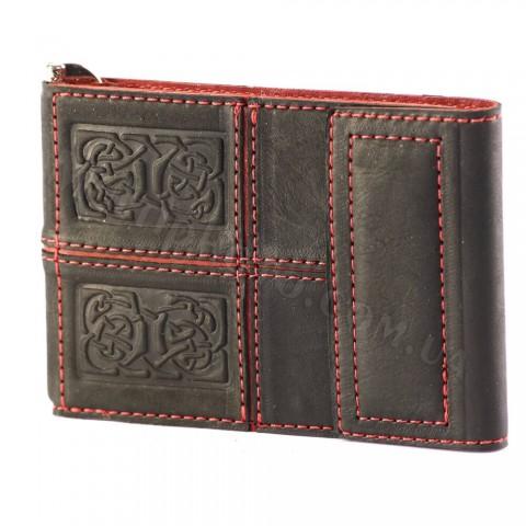 Зажим для денег кожа Макей 568-07-04 Черное и красное