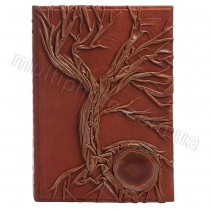 Кожаная родословная книга с камнем Агат 620-04-16