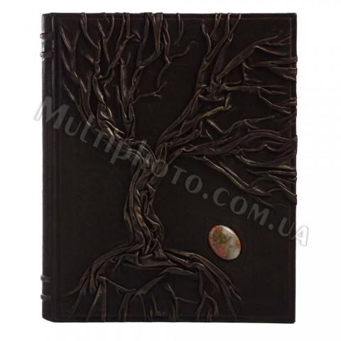 Кожаная родословная книга Арт Кажан 620-30-02 с яшмой