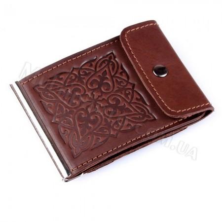 Коричневый кожаный зажим для банкнот Арт Кажан 768-10-26
