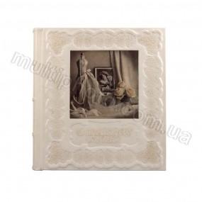 Кожаный свадебный фотоальбом с декоративной печатью на коже 720-50-30