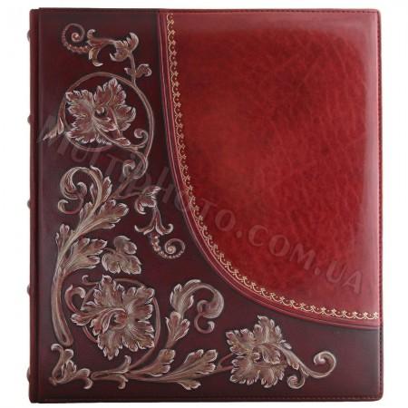 Кожаный фотоальбом Лилия с художественной росписью 29x33 см