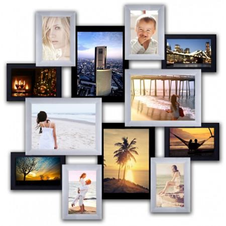 Мультирамка на 12 фото Маленькое путешествие Черный Белый 65x65 см