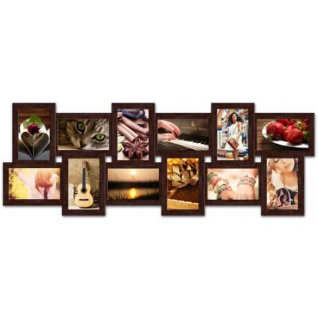 Мультирамка на 12 фото История Венге 35x80 см