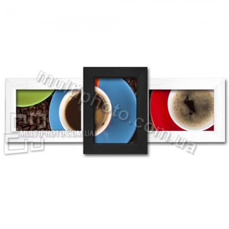 Деревянная мультирамка Полет черно-белый на 3 фотографии