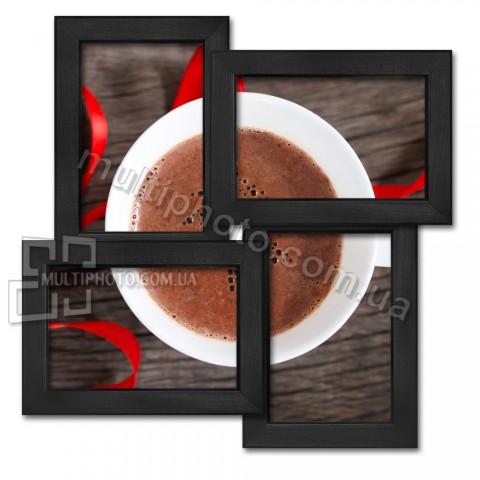 Деревянная мультирамка Классика на 4 фото черная