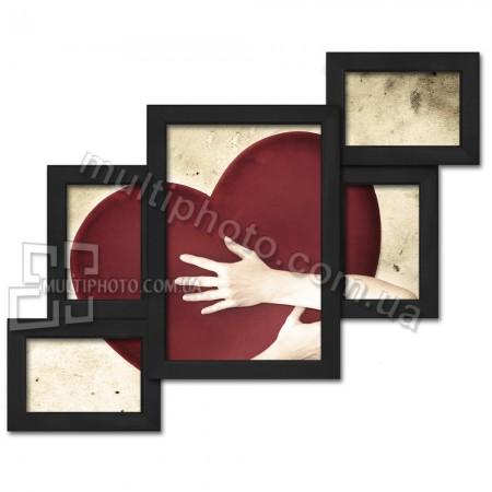 Деревянная мультирамка Лесенка на 5 фото черная