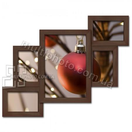 Деревянная мультирамка Лесенка на 5 фото венге