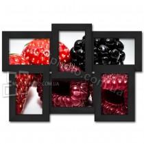 Деревянная мультирамка Классика на 6 фото черная