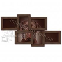 Деревянная мультирамка Классика на 6 фото венге