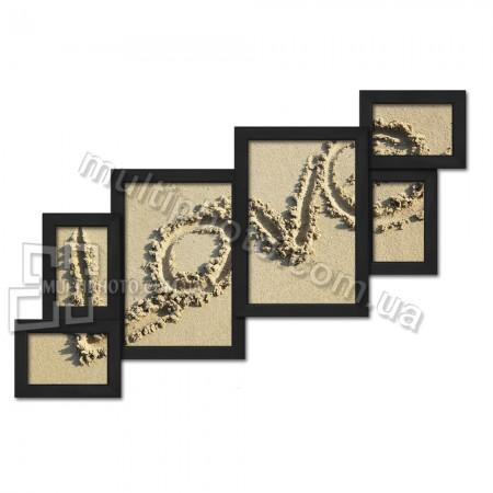 Деревянная мультирамка Лесенка на 6 фото черная