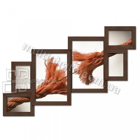 Деревянная мультирамка Лесенка на 6 фото венге