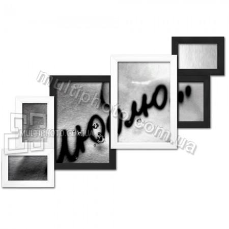 Деревянная мультирамка Лесенка на 6 фото черно-белая