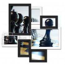 Деревянная мультирамка Волна Любви черно-белая на 7 фото