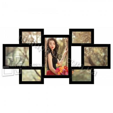 Деревянная мультирамка Семь желаний черная на 7 фото