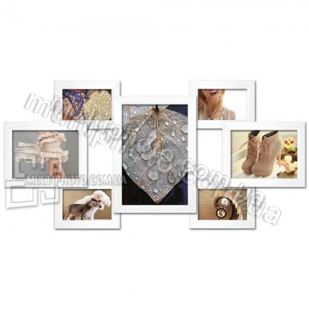 Деревянная мультирамка Семь желаний белая на 7 фото